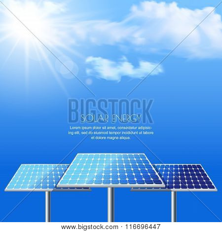 Realistic Vector Illustration Of Solar Batteries On Cloudscape Blue Background.