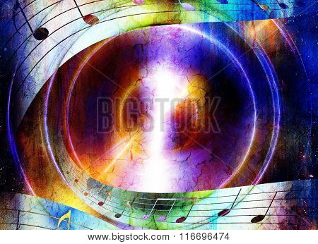 music notes on colorful grungy background, violet color.