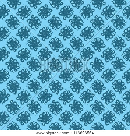 Stylish Background With Octopus On Blue Background For Packaging Or Menus