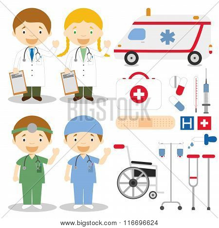 Doctor and nurses characters vector illustration, with medical icons and objects