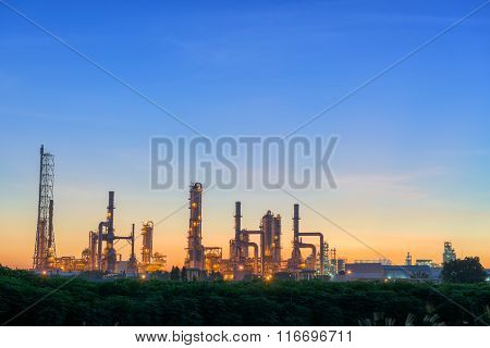 Early Morning Scene Of Oil Refinery Plant.