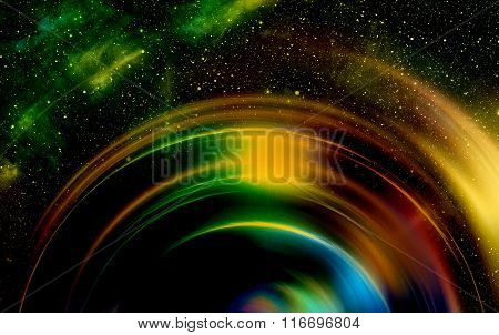 Cosmic space and stars with light circle, color cosmic abstract background.