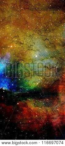 Cosmic space and stars, blue cosmic abstract background.