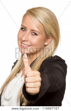 Young Woman Showing Thumbs Up With Her Hands