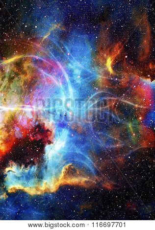 Cosmos and fractal effect, computer collage. Elements of this image furnished by NASA.