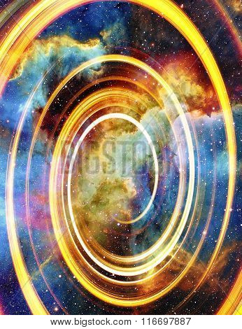 Nebula, Cosmic space and stars with light circle, color cosmic abstract background.