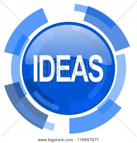 ideas blue glossy circle modern web icon