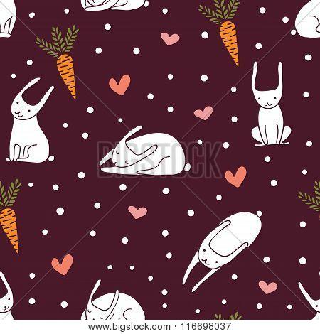 Cute Bunnies Burgundy Seamless Pattern