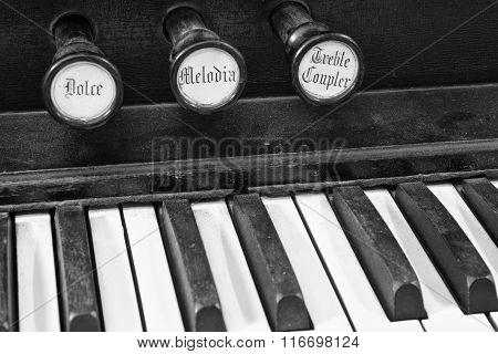 Diagonal Closeup Of Organ Keys - Black And White Of Organ Keys And Wood Texture