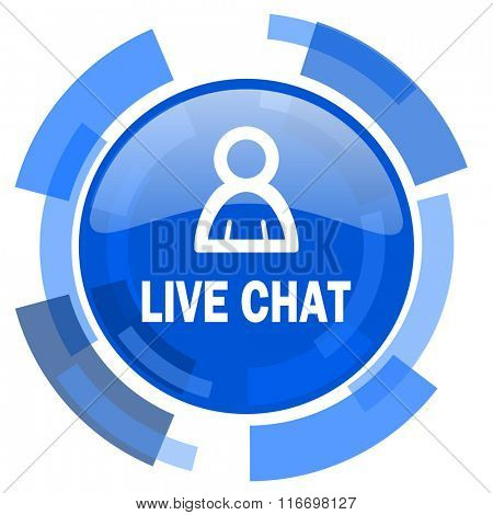 live chat blue glossy circle modern web icon
