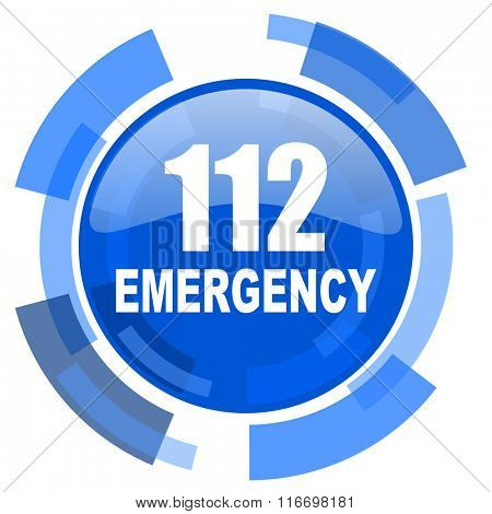 number emergency 112 blue glossy circle modern web icon
