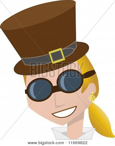 Smiling Steampunk Woman Wearing Brown Top Hat And Goggles