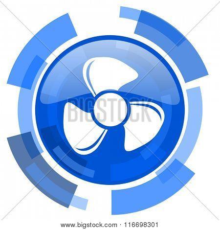 fan blue glossy circle modern web icon