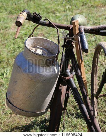 Old Milk Canister Used By Farmers To Carry Fresh Milk