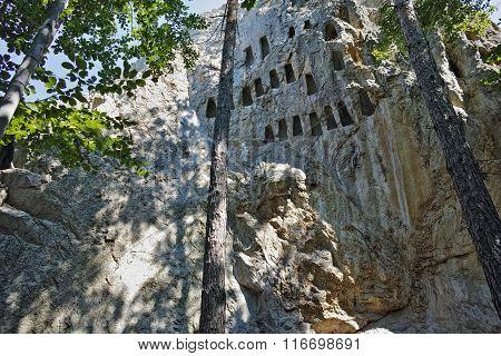 Thracian Sanctuary Eagle Rocks near town of Ardino in Rhodopes mountain, Bulgaria