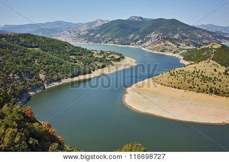 landscape of Arda River and Kardzhali Reservoir, Bulgaria