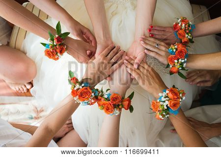 Bridesmaids Holding Bride's Hands