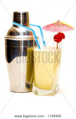 Pina Colada Cocktail With Umbrella & Shaker Isolated On White Background