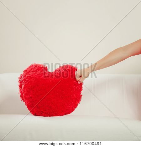 Human Hitting Heart Shape Pillow. Valentines Day