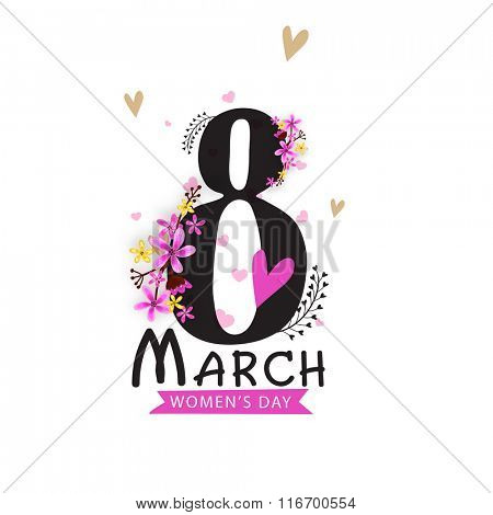 Stylish text 8 March with beautiful flowers on hearts decorated grey background for Happy Women's Day celebration.