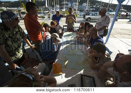 SYROS-KYTHNOS, GREECE - CIRCA MAY, 2014: Sailors participate in sailing regatta 11th Ellada 2014 among Greek island group in the Aegean Sea, in Cyclades and Argo-Saronic Gulf.
