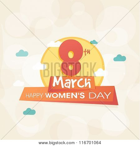 Elegant greeting card design for 8th March,  Happy Women's Day celebration.