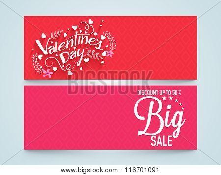 Big Sale website header or banner set with 50% discount offer for Happy Valentine's Day celebration.