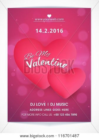 Elegant Flyer, Banner or Pamphlet with glossy pink hearts for Happy Valentine's Day celebration.