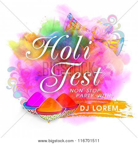 Colourful splash decorated Poster, Banner or Flyer design for Indian Festival, Holi Fest Party celebration.