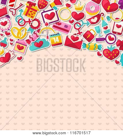 Abstract Postcard for Happy Valentine's Day