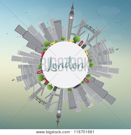 London Skyline with Gray Landmarks and Blue Sky. Vector Illustration. Business Travel and Tourism Concept with Historic Buildings and Copy Space. Image for Presentation Banner Placard and Web Site.
