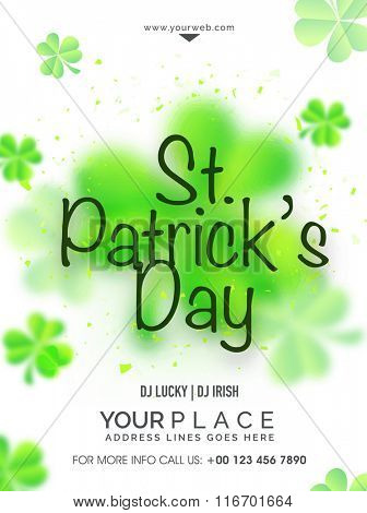 Glossy Shamrock Leaves decorated Pamphlet, Banner or Flyer design for Happy St. Patrick's Day celebration.