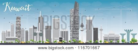 Kuwait City Skyline with Gray Buildings and Blue Sky. Vector Illustration. Business Travel and Tourism Concept with Modern Buildings. Image for Presentation Banner Placard and Web Site.