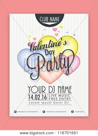 Happy Valentine's Day Party celebration Flyer, Banner or Pamphlet with colorful hearts.