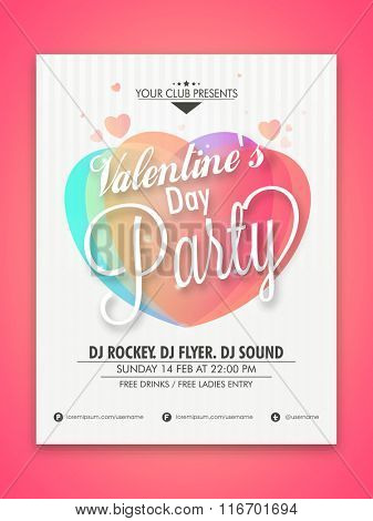 Elegant Flyer, Banner or Pamphlet for Happy Valentine's Day Party celebration.