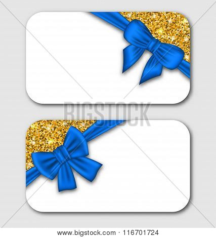 Gift Cards with Blue Bow Ribbon and Golden Surface.