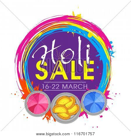 Creative Sale Poster, Banner or Flyer design with dry colours and sweets for Indian Festival, Happy Holi celebration.