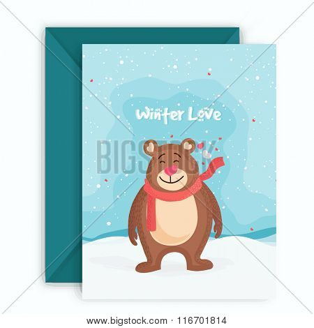 Beautiful greeting card design with cute smiling bear for Love Season celebration.