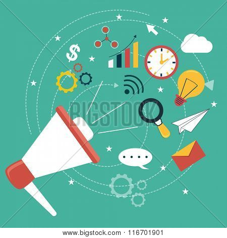 Colorful creative Infographic elements with loud speaker for Business concept.