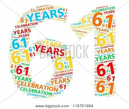 Colorful word cloud for celebrating a 61 year birthday or anniversary