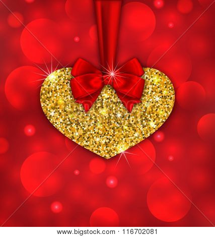 Shimmering Golden Heart with Red Ribbon