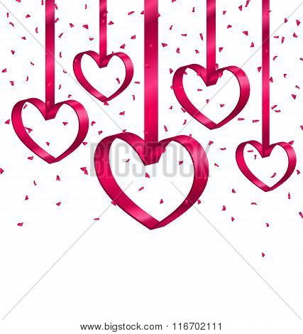 Beautiful Background with Ribbon Hearts and Tinsel