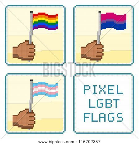 Pixelized Hands Holding Lgbt Flags Vector