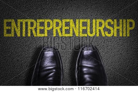 Top View of Business Shoes on the floor with the text: Entrepreneurship