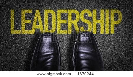 Top View of Business Shoes on the floor with the text: Leadership