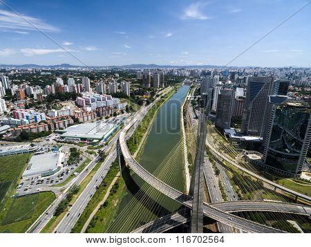 Aerial View of Estaiada Bridge and Skyscrapers in Sao Paulo, Brazil