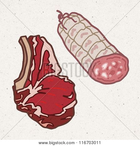 pieces of meat - beef and pork