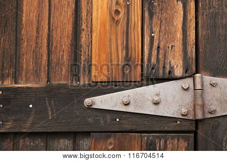 Metal hinge on barn door