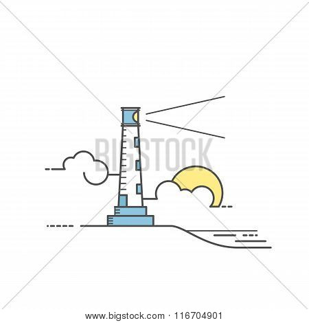 Lighthouse vector illustration.Line art style
