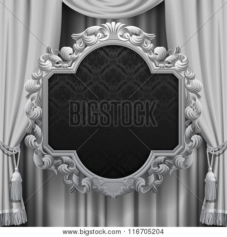 Suspended decorative vintage frame on the curtain background in black and white colors. Square presentation artistic poster and placard. Contain the Clipping Path